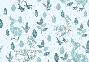 Seamless Pattern of Dodo Illustration with Scandinavian Style