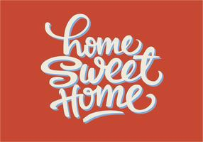 Söt Typographic Home Sweet Home Illustration