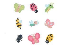 Conjunto de insectos lindos