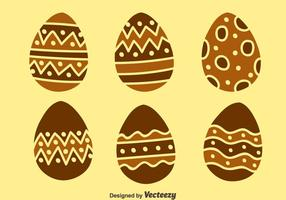 Nice Chocolate Easter Eggs Vectors Set