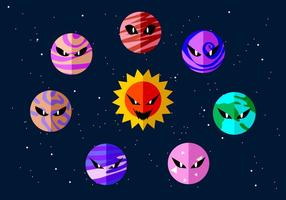 Angry Planets Free Vector