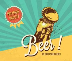 Cold Beer Vector Retro Poster
