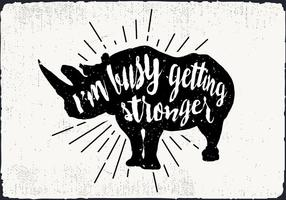 Gratis vektor rhinoceros Silhouette Illustration With Typography