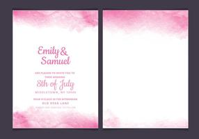 Vector Pink Delicate Watercolor Wedding Invitation