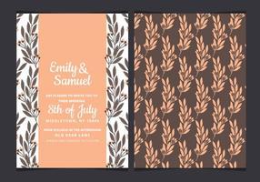 Convite do casamento da aguarela do vetor com ramos desenhados mão