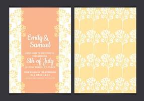 Vektor gula grenar bröllop inbjudan