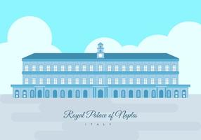 Royal Palace of Naples Building Vector Illustration
