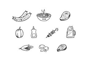 Gratis Barbecue Handgetekende Pictogram Vector
