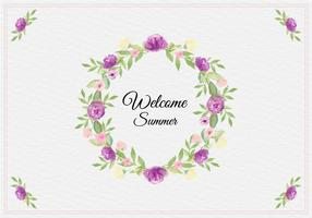 Free Vector Summer Illustration With Watercolor Floral Frame