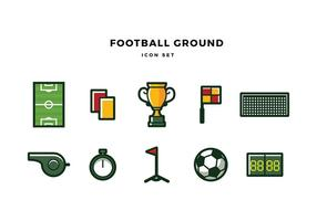 Football Ground Icon Set Free Vector