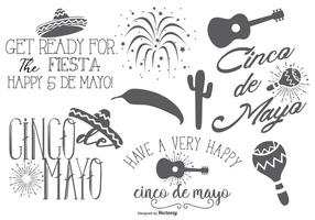 Labels en elementen van Cinco de Mayo