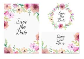 Vector livre salvar o cartão de data com flores cor de rosa da aguarela