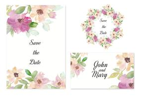 Free Vector Save The Date Invitation With Watercolor Flowers