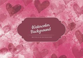 Vector Dark Red with Hearts Watercolor Background