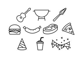 BBQ och Block Party Line Icon Element Vectors