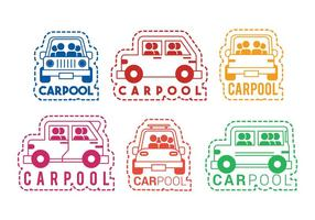 Carpool-Vektor-Icon-Aufkleber-Set