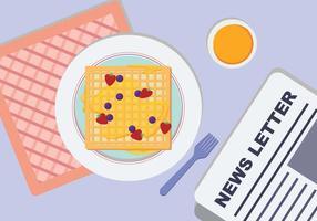 Plate Waffel Und Frühstück Tisch Vektor