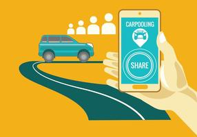 Carpooling concetto su sfondo giallo