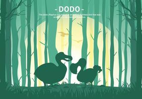 Dodo Cartoon Forest Silhouette Vector Illustration
