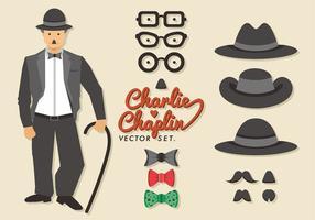 Charlie chaplin vektor uppsättning