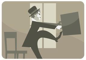 Charlie Chaplin Proberen om Briefcase Vector Open