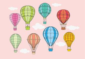 Balões de ar quente Projeto Vetores Vintage