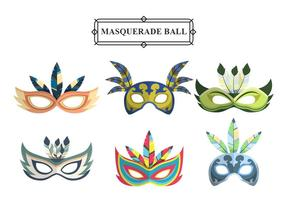Colorful Masquerade Carnival Masks Vector Set