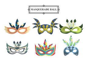 Máscaras coloridas del carnaval de la mascarada Vector Set
