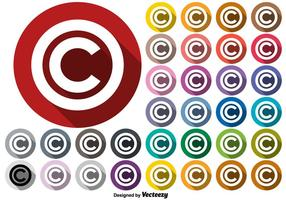Vector Copyright Symbol Knappar Set