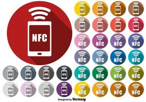Vector NFC Connection Symbol Buttons Set