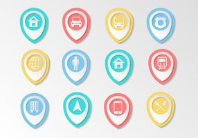 Gratis Kaart Pointer Icons Vector