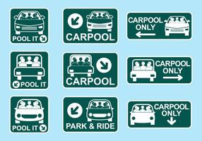Carpool Sign Icon Vettori