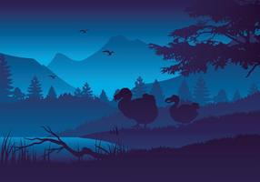 Dodo Silhouette Noite Vector grátis
