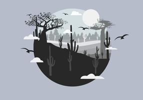 Kaktus-Wüste mit Film-Korn-Effekt-Vektor-Landschaft