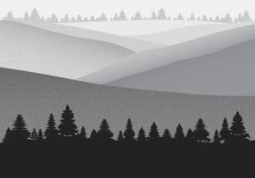 Paisaje de montaña con el fondo del grano de la película Efecto vectorial