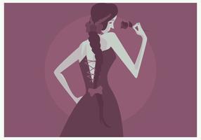 Menina Com Plait E Rose Vector