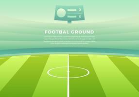 Footbal de tierra del fondo del vector de dibujos animados gratis