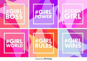 Vector Geometric Girl Power Backgrounds