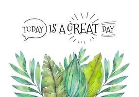 Watercolor Tropical Leaves With Motivational Quote