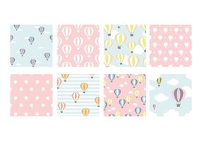 Pastel Hot Air Balloon Vector Patterns