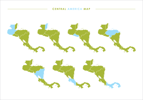 Green Central America Map Illustrations
