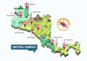 Carte de l'Amérique Centrale Illustration Vectorisée