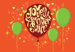Carte Joyeux Anniversaire with Balloons and Stars