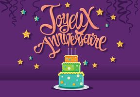 Feliz Cumpleaños en Francés Joyeux Anniversaire con Pastel Tarta