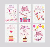 Birthday or Joyeux Anniversaire Greeting and Invitation Card Vectors