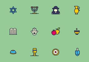 Colorful Judaism Icons Vectors