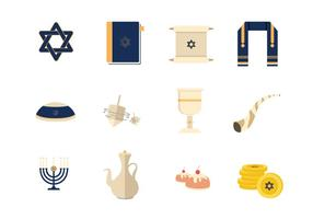 Tefilín Y Elementos Vector Judío