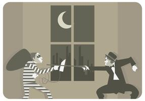 Charlie Chaplin VS Thief Vector