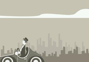 Charlie Chaplin rijden klassieke auto vector