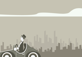 Charlie Chaplin conducción clásico coche vector